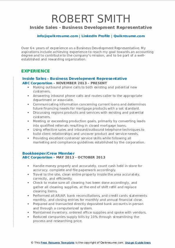 Inside Sales - Business Development Representative Resume Model