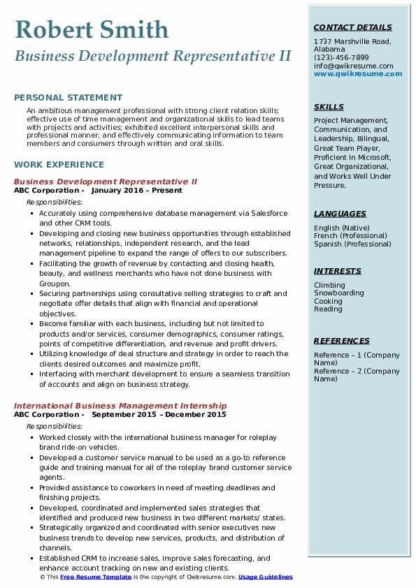 Business Development Representative II Resume Model
