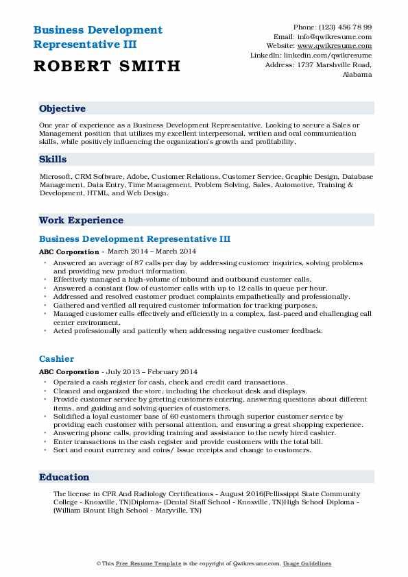 Business Development Representative III Resume Example