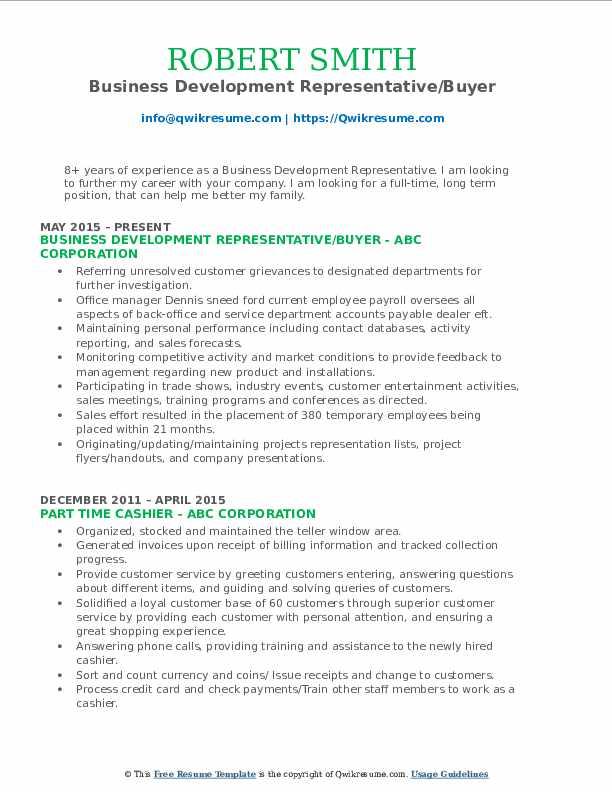 Business Development Representative/Buyer Resume Sample