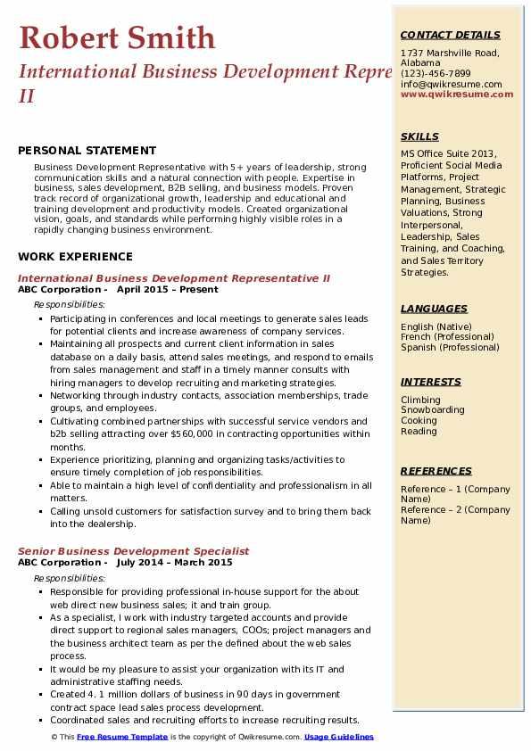International Business Development Representative II Resume Sample