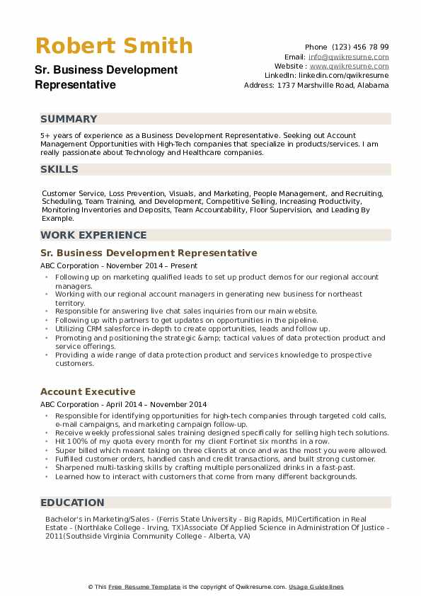 Business Development Representative Resume example