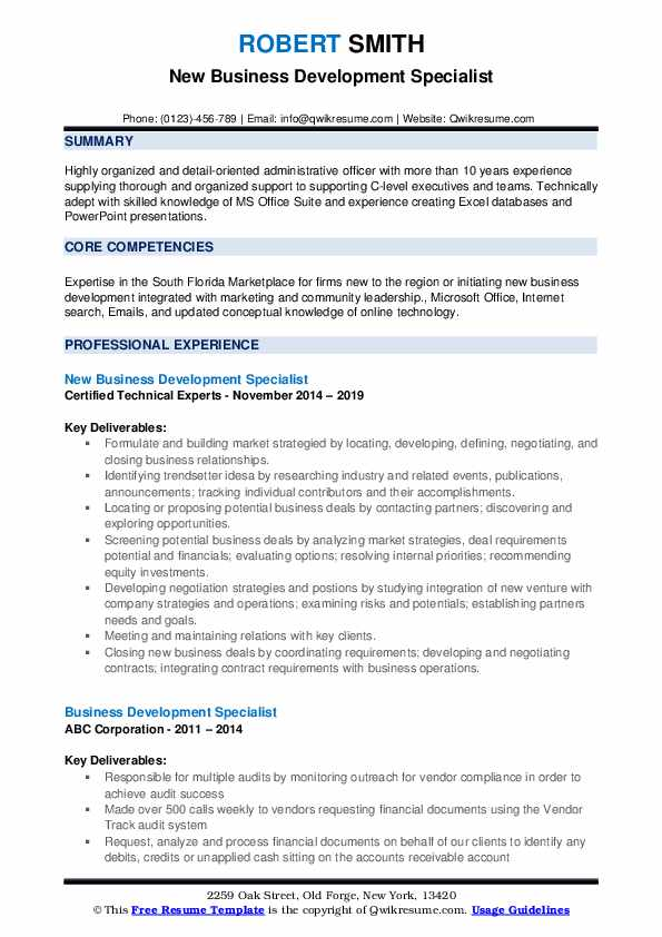 New Business Development Specialist Resume Example