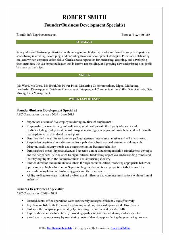 Founder/Business Development Specialist Resume Format