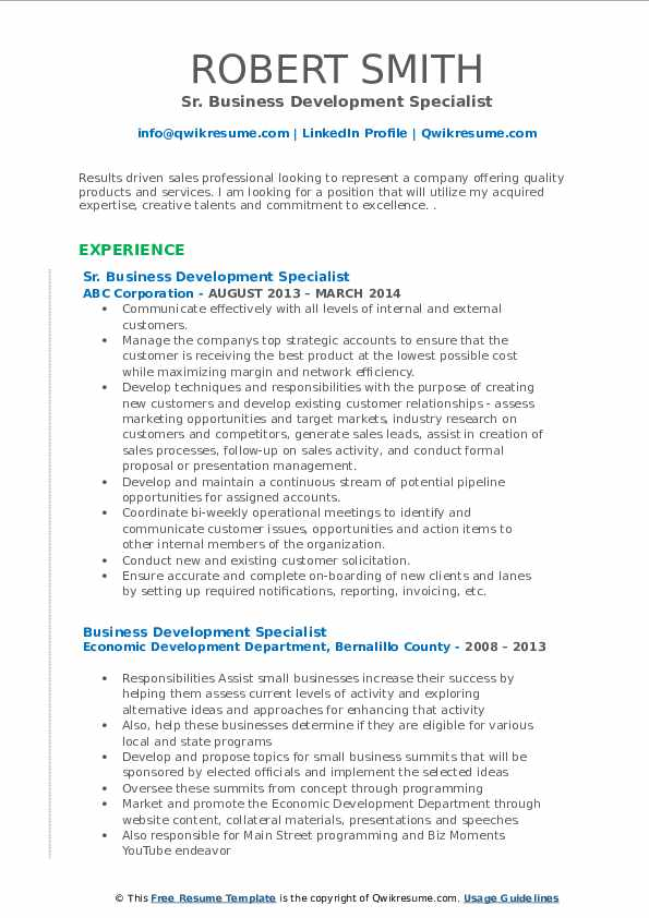 Sr. Business Development Specialist Resume Example