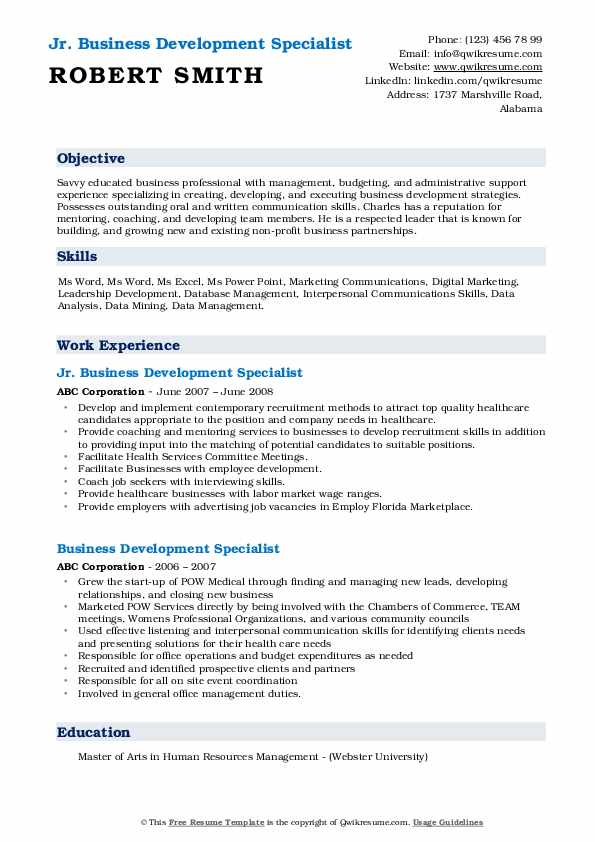Jr. Business Development Specialist Resume Format