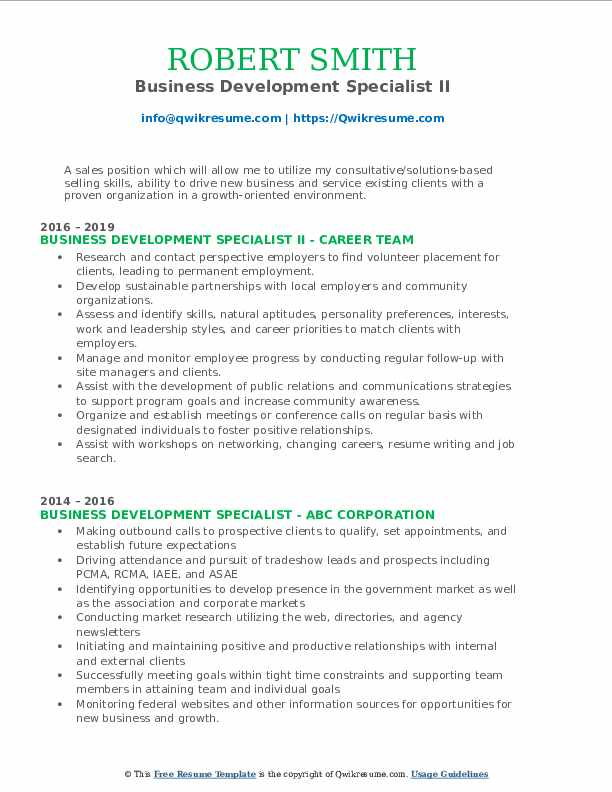 Business Development Specialist II Resume Template