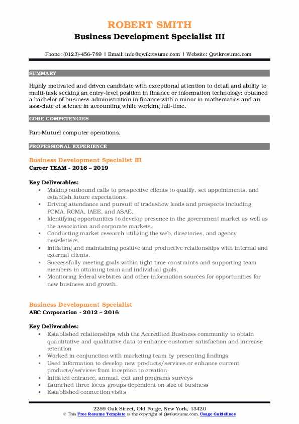 Business Development Specialist III Resume Model