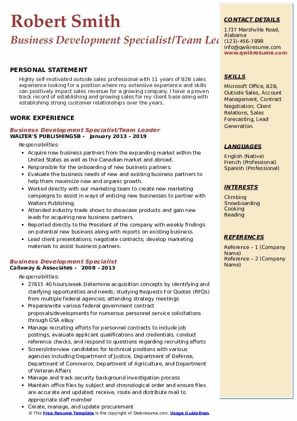 Business Development Specialist/Team Leader Resume Format