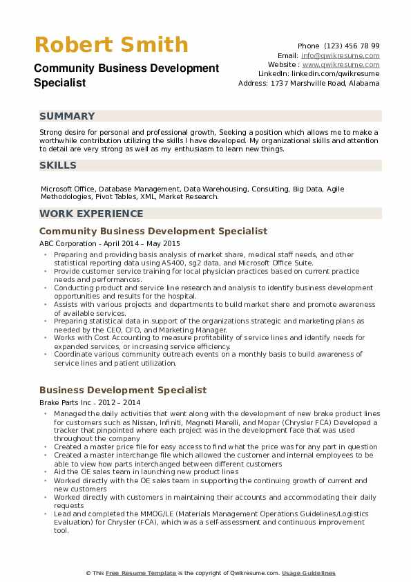 Community Business Development Specialist Resume Format