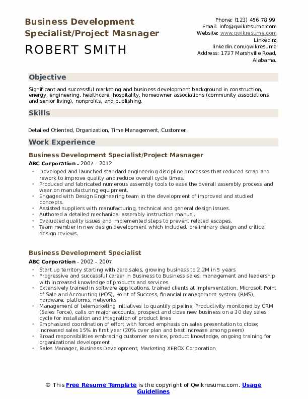 Business Development Specialist/Project Masnager Resume Model