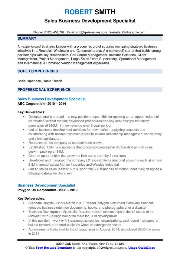 Sales Business Development Specialist Resume Example
