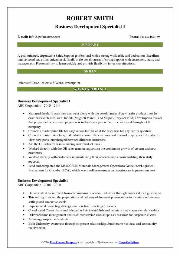Business Development Specialist I Resume Format