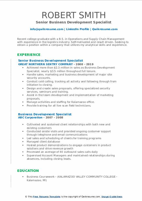 Senior Business Development Specialist Resume Example