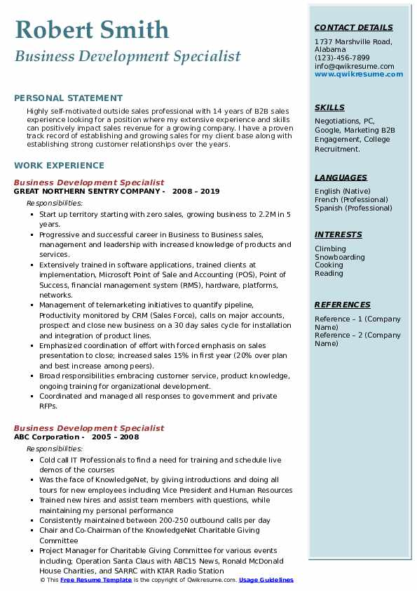 Business Development Specialist Resume example