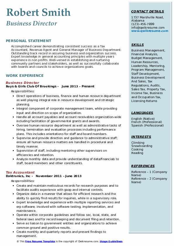Business Director Resume Samples | QwikResume
