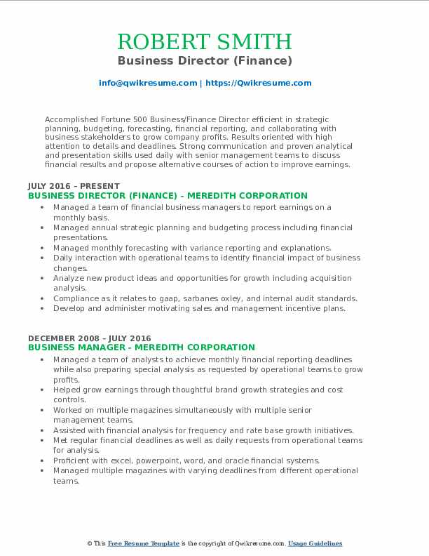 Business Director (Finance) Resume Template