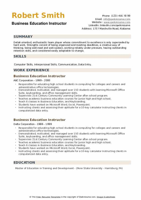 Business Education Instructor Resume example
