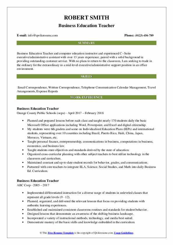 Business Education Teacher Resume Sample