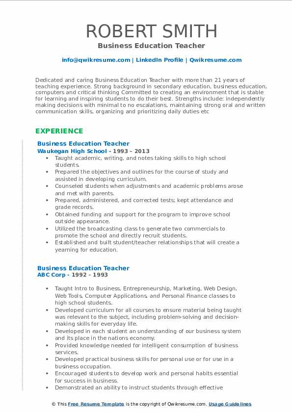 Business Education Teacher Resume Model