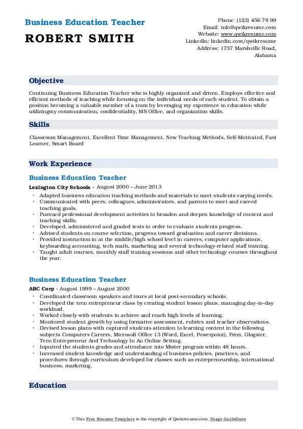 Business Education Teacher Resume Template