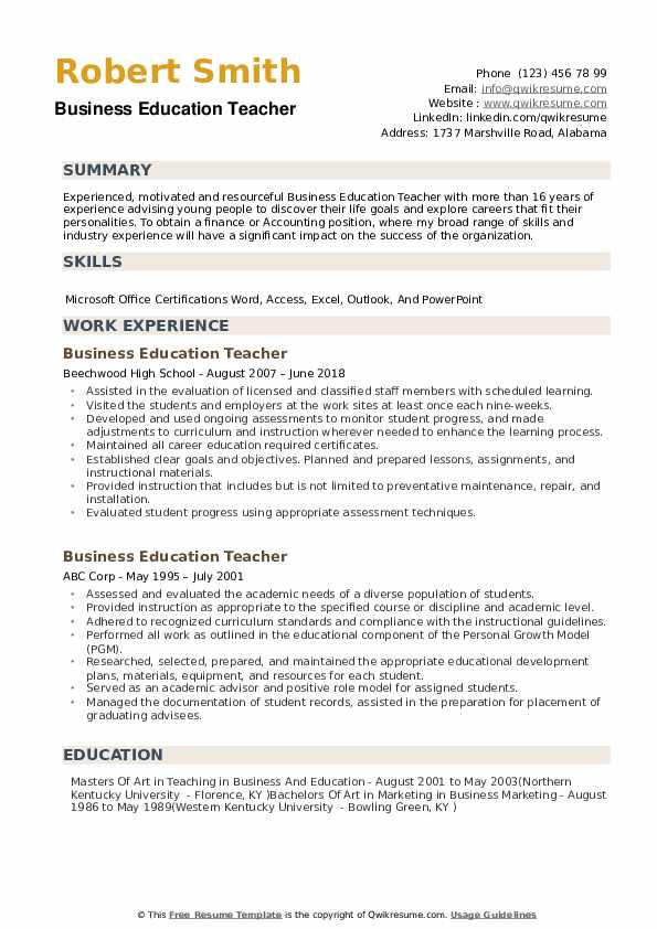 Business Education Teacher Resume Example