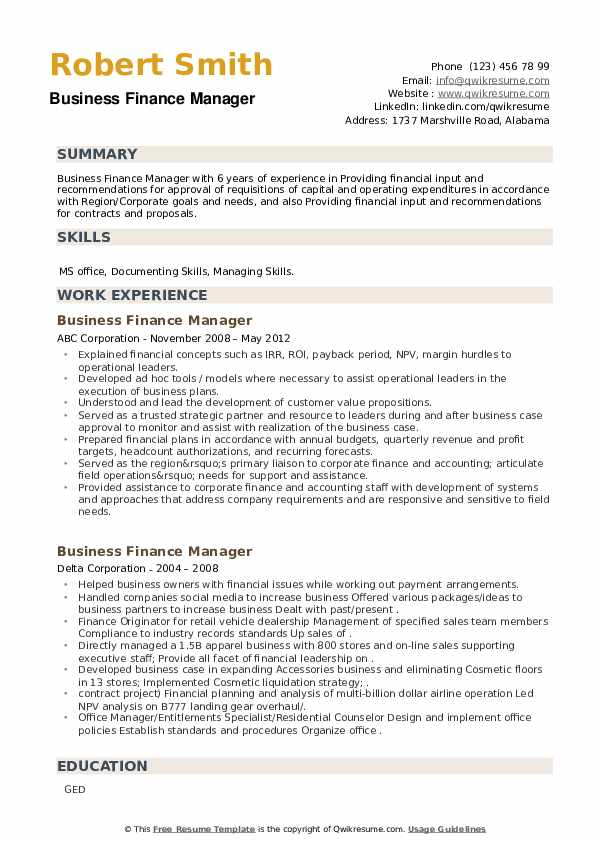 Business Finance Manager Resume example