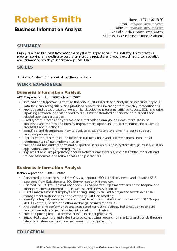 Business Information Analyst Resume example
