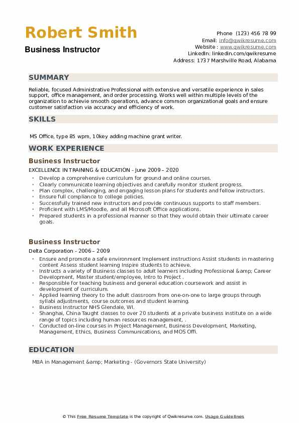 Business Instructor Resume example