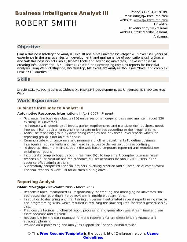 Business Intelligence Analyst III Resume Example