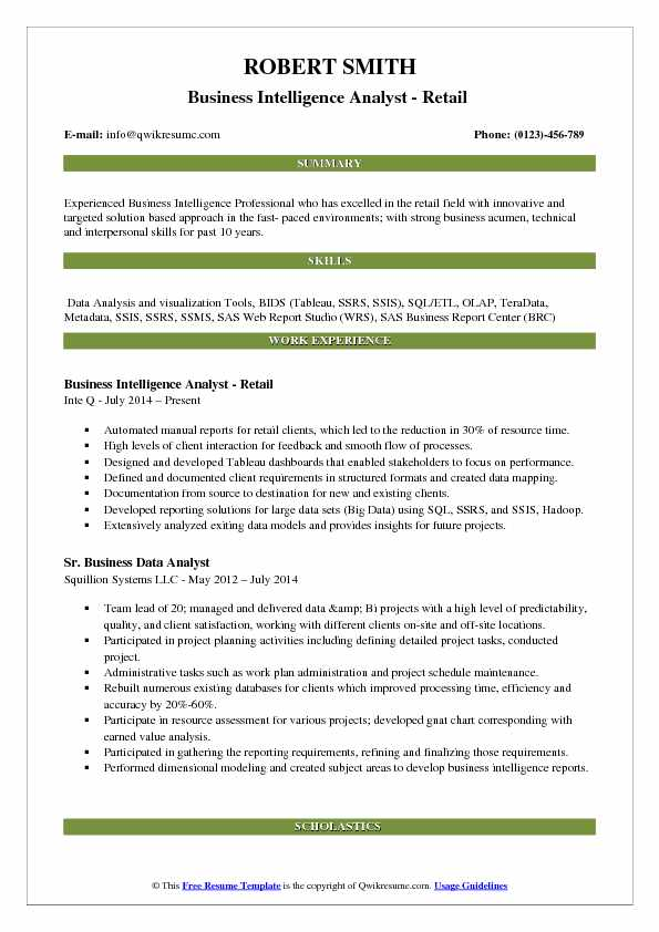 Business Intelligence Analyst - Retail  Resume Template