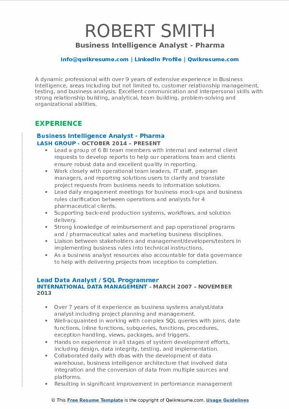 Business Intelligence Analyst - Pharma Resume Format