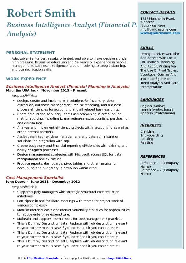 business intelligence analyst financial planning analysis resume sample - Business Intelligence Analyst Resume