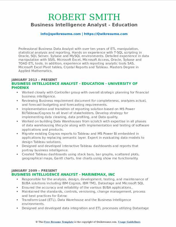 Business Intelligence Analyst - Education Resume Sample