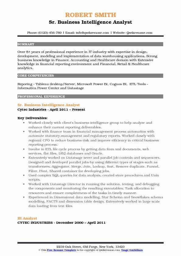 Sr. Business Intelligence Analyst Resume Format