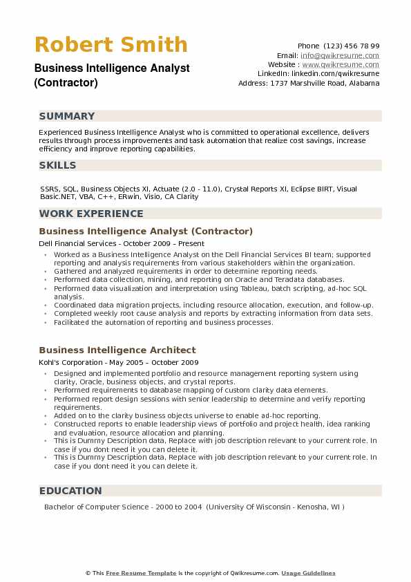 Business Intelligence Analyst (Contractor) Resume Sample