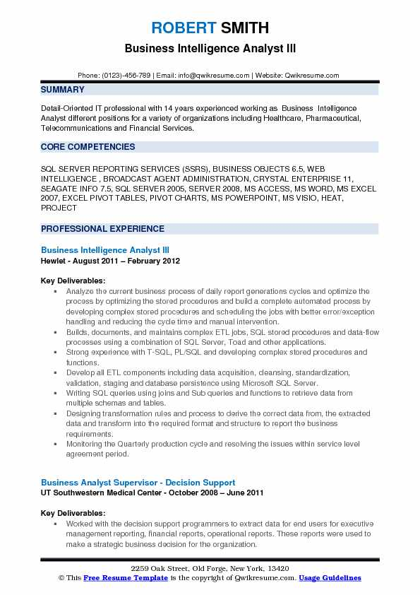 Business Intelligence Analyst III Resume Sample