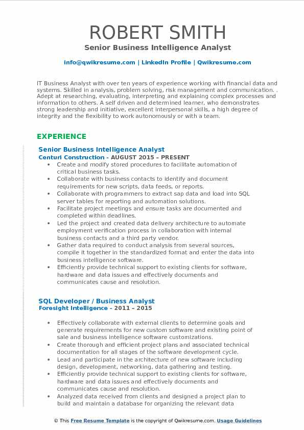 Senior Business Intelligence Analyst Resume Format