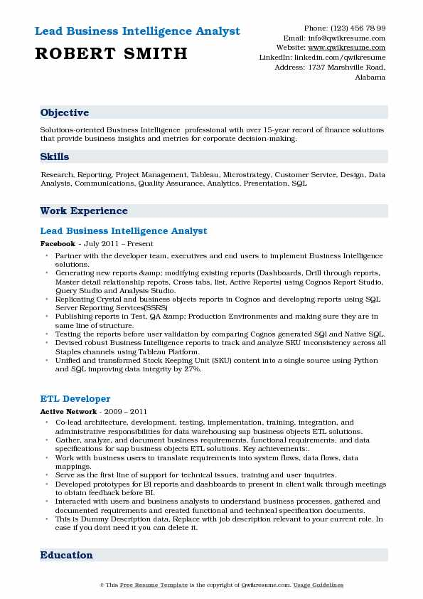 Business intelligence analyst resume samples qwikresume lead business intelligence analyst resume template fbccfo Gallery