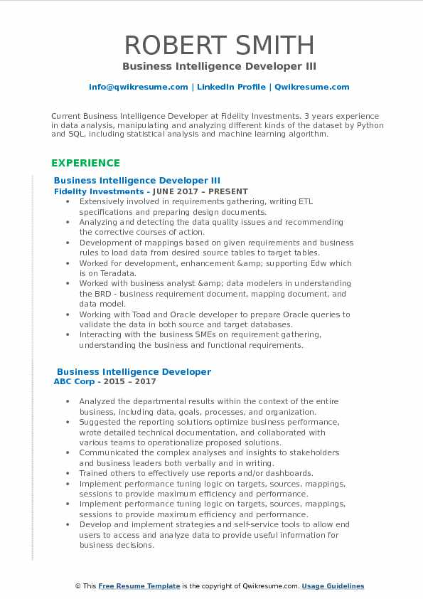 Business Intelligence Developer III Resume Sample