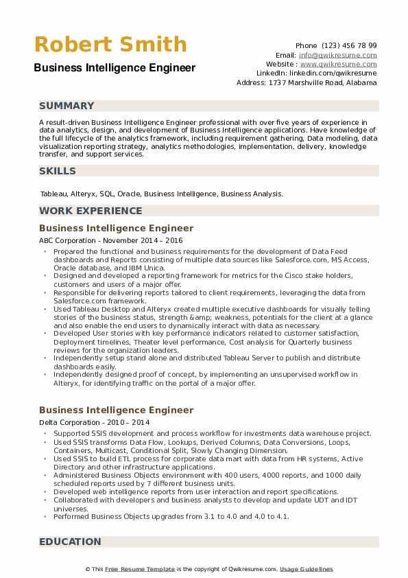 Business Intelligence Engineer Resume example