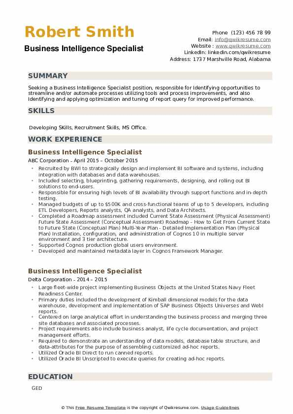 Business Intelligence Specialist Resume example