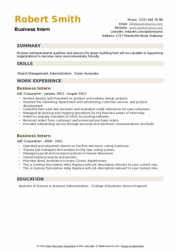 Business Intern Resume example
