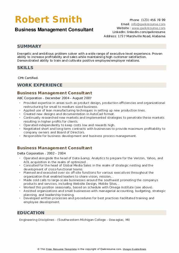 Business Management Consultant Resume example