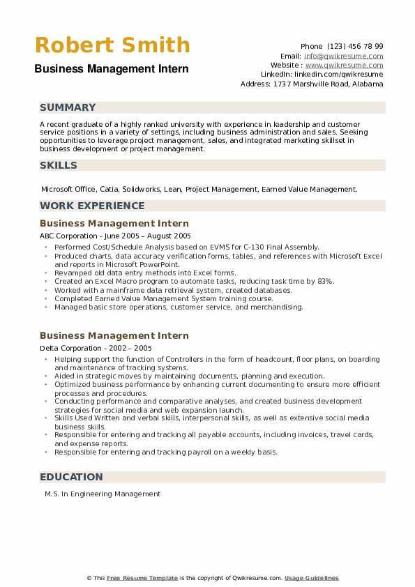 Business Management Intern Resume example