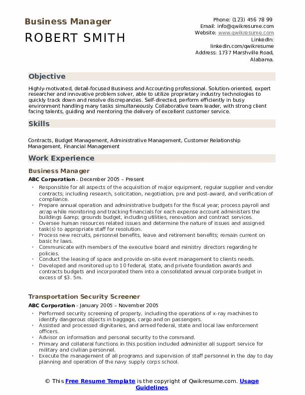 business manager resume samples