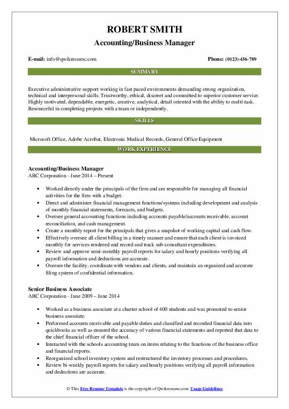 Accounting/Business Manager Resume Model