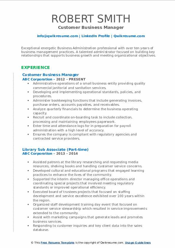 Customer Business Manager Resume Template