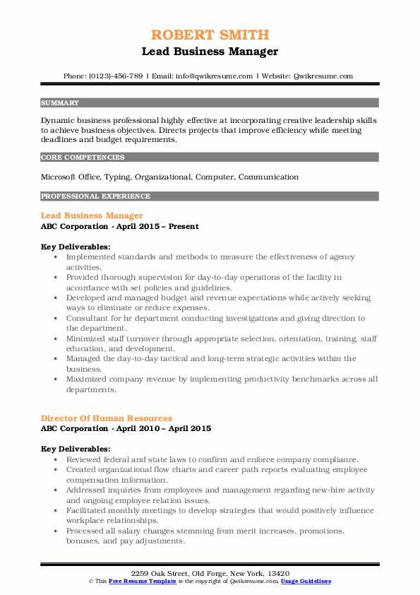 Lead Business Manager Resume Format