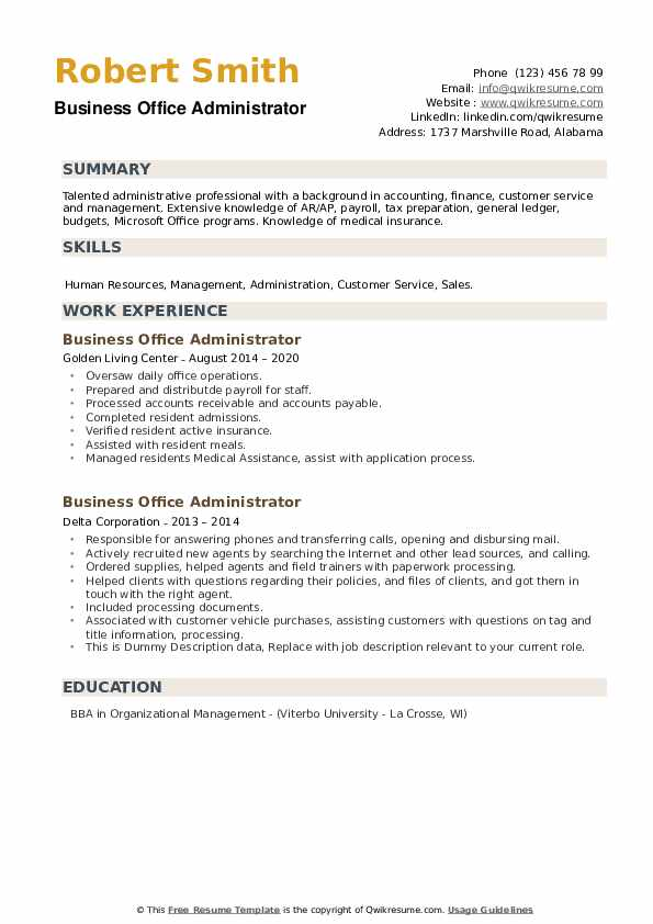 Business Office Administrator Resume example